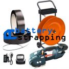 TES 12-16mm (1/2″ to 5/8″) battery strapping tool + 2 Batteries & Charger + PP strap 16mm + dispenser