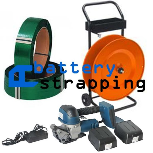 TES Plzs battery strapping with PET strap, bettery strapping set for PET strapping 16-19mm + dispenser